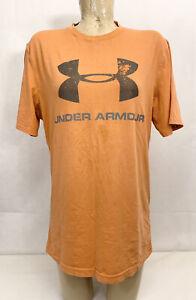 "Under Armour Loose Tee T Shirt M Medium 22"" Heat Gear Orange Distressed Print"