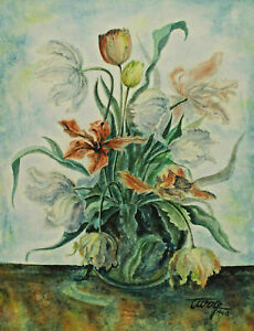 Signed Wolff Dated 1948 - Flower Still Life