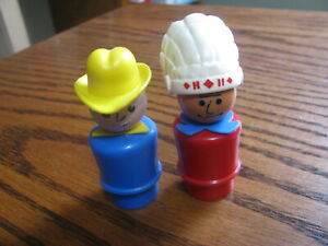 Fisher Price Little People  Cowboy & Indian   Lot# TV 1A