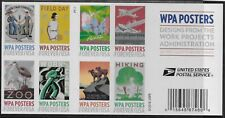 US Scott #5180-89b, DOUBLE SIDED Booklet Pane Plate #P1111 2017 WPA VF MNH