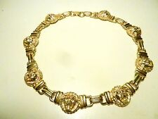 Runway-ANNE-KLEIN-1980's Vintage--Chunky-Gold-Lion-Head-Links Necklace/Choker