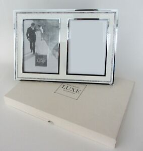 "Reed & Barton Luxe Collection Facets 5""x7"" Double Picture Frame White/Silver NEW"