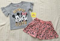 Disney Junior Mickey Minnie Mouse Girls Size 6 Shirt Skirt 2 Piece Set