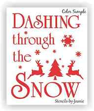 Joanie STENCIL Dashing Snow Christmas Reindeer Tree Snowflake Star Country Prim