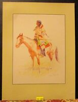 Vintage REMINGTON Print ~THE BREED~ on Horse Rockwell Museum Indian Print 1988