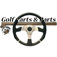 "EZGO TXT Golf Cart Steering Wheel 14"" Black With Chrome Column Cover and Adapter"