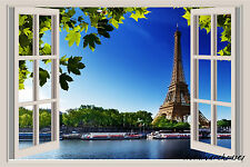 Eiffel Tower Paris Window View Color Wall Sticker Wall Mural 3ft