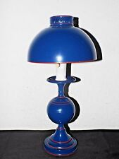 GONE WITH THE WIND VINTAGE ATOMIC THEMED BLUE METAL STYLE HURRICANE LAMP