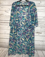 Lularoe Shirley Kimono Duster Size Large Long Feather Print Teal Blue Purple
