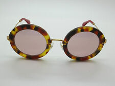 3e0bf32224ab NEW MIU MIU SMU 13N UA5-4M2 Matte Spotted Tortoise Gold Oval 49mm Sunglasses