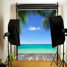 3X5Ft Blue Sky Beach Tree Backdrop Photography Background For Studio Photo Prop