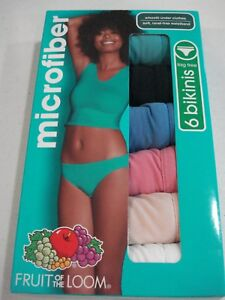 Fruit of the Loom Women's 6 Pack Microfiber Bikinis Size 7 NEW L/G Choose Colors