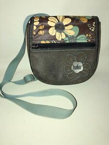 Haiku by Sharon Eisenhauer Brown Teal Green 2-Way Flap Crossbody Waist Bag EUC!