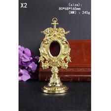 Custom Nice Brass ornate Reliquary for church home Relic Religious+angel NW 245g