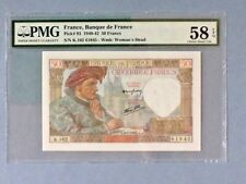 France P-93; 50 Francs; 1942; PMG Graded 58EPQ