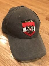 AUSTRIA Dark Gray Embroidered Baseball Hat Cap Adjustable Well Made Pre Owned