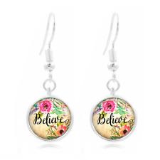 Phrase Art , Believe Photo Art Glass Cabochon 16mm Charm Earring Earring Hooks