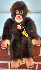 "Excellent/Cute Steiff Jocko 16"" Monkey Chimp w/Ear Button & Name Tag"
