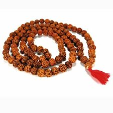 GENUINE RUDRAKSHA SEED MALA Prayer Bead Necklace 14mm NEW Large Natural Rosary