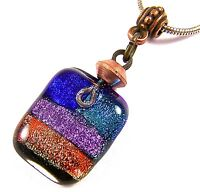 DICHROIC PENDANT Fused Glass Blue Green Purple Orange Dichro Beaded Copper Bail