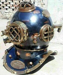 "Antique MARK V U.S Navy Deep Sea Divers Helmet 18"" Diving vintage BOSTON Replica"