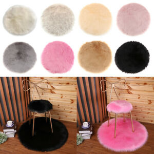 Faux Fur Sheepskin Round Car Stool Seat Cushion Floor Mat Furry Sofa Pad
