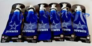 WHOLESALE LOT (6) DALLAS COWBOYS FOLDABLE WATER BOTTLE GREAT FOR GAMEDAY!