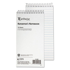 Earthwise Envirotec Reporter Spiral Notebook, Pitman Rule, White (TOP25281)
