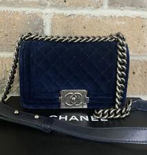$ 4,500 CHANEL Small Velvet Boy Handbag Navy Blue