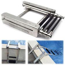 Stainless Steel 4 Steps Under Platform Boat Boarding Telescoping Ladder Novel
