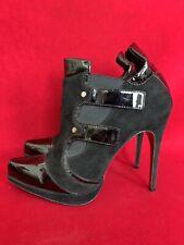 Cesare Paciotti Patent Black Leather Suede Ankle Booties Size 41
