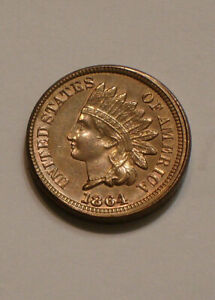 1864 CN Indian Head Cent very Choice BU subtle Rainbow Tones