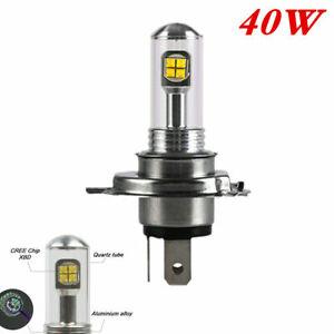 40W H4/HS1 Motorcycle 8 LED Headlight COB Hi/Lo Beam Bulb White 6500K Plug Play