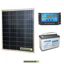 Kit Starter Pannello Solare 80W 12V Batteria AGM 100Ah  Regolatore PWM 10A NV10