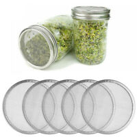 5 Stainless Steel Sprouting Lids Mesh Screen Strainer Filter Cover for Mason Jar