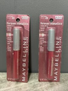 2 Maybelline Forever Metallics - BLUSH BEAM 20 Metal-Shine Lipcolor Pencil NEW