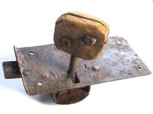 Rare serrure ancienne fer forgé avec sa clef d'origine porte serrurerie