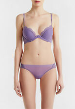 La Perla Romance 36C M Push Up Bra Thong Panty Set Violet Leavers Lace New