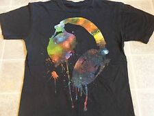 DRIPPING HEADPHONES spray paint T-SHIRT MED multi-color outer space stars MUSIC