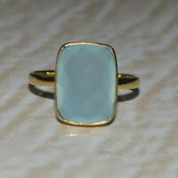 Natural Faceted Aqua Chalcedony Gemstone 14K Yellow Gold Wedding Gift Ring