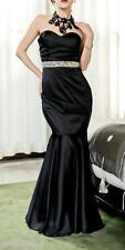 Lipsy VIP Embellished Waistband Fishtail Maxi Bandea party Black Dress Sz 8