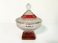 """Vintage Indiana Glass """"Diamond Point Ruby"""" Short Compote/Candy Dish w/ Lid Rare"""