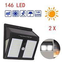146LED Solar Powered PIR Motion Sensor Light Outdoor Garden Security Wall Lamps