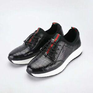 Men Shoes Genuine Crocodile Alligator Belly Skin Leather SneakersSize 10US 43EU