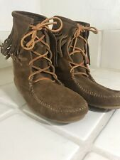 HIPPIE GYPSY MINNETONKA BROWN SUEDE LEATHER FRINGE ZIP ANKLE BOOTS 9