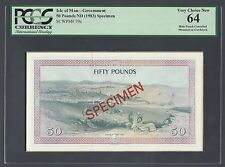 Isle Of Man Reverse 50 Pounds ND(1983) P39s Specimen Proof Uncirculated