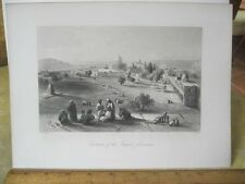 Vintage Print,ENCLOSURE OF TEMPLE JERUSALEM,Engraving,WH.Bartlett,Turkey+Greace