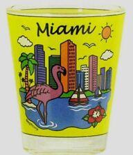 MIAMI FLORIDA YELLOW SKYLINE SHOT GLASS SHOTGLASS