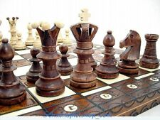 WOODEN CHESS SET HANDCRAFTED  w/ BOARD 21´´ SCHACH  AJEDREZ