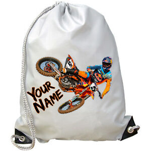 PERSONALISED ORANGE MOTOCROSS MX GYM /PE/ DANCE / SWIMMING BAG - KIDS NAMED GIFT